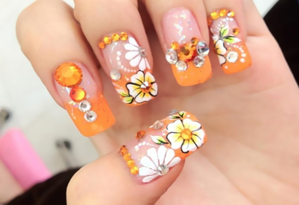 Wow This Flower Look Is Really Very Creative Rhinestone Art Nails With Design Gives Fresh And You Can Adopt Style For Festivals Like