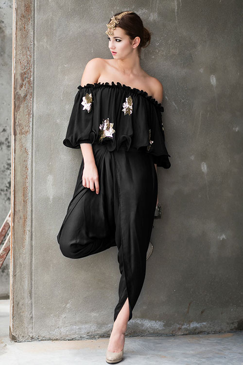 Black Off Shoulder Salwar With Dhoti Style Pants