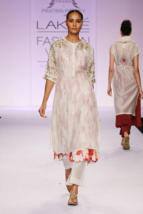 White Zardozi Dress With Straight Palazzo Pants