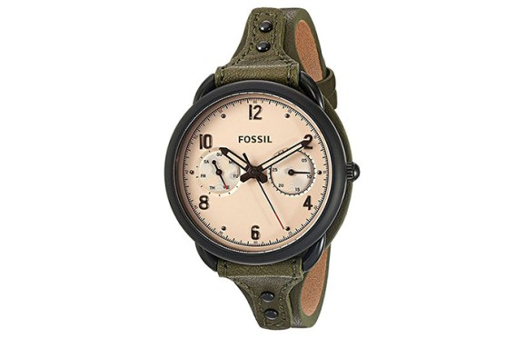 . Round Analog Watch In Black And Algae Green Strap