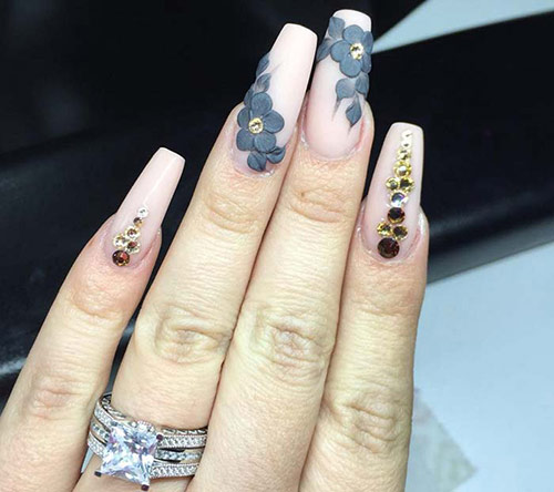 3d Acrylic Nail Art With Flowers