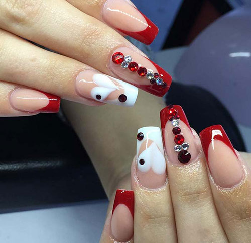 Heart Acrylic Nails With Red Tips Valentines Nail Designs