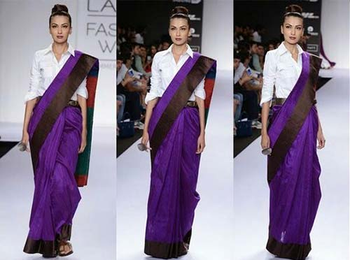 Team-It-With-A-Shirt Tired Of Old Saree Drapes? Try 21 Modern Styles No One Told You About! Random