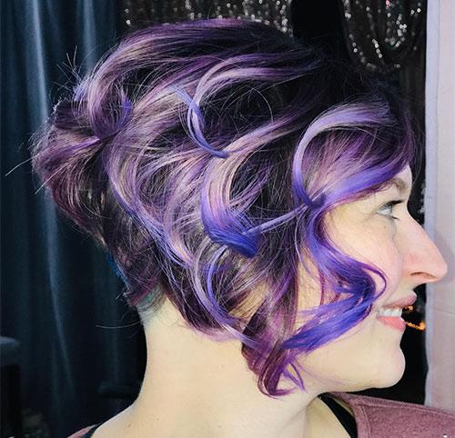 Purple Curled Bob