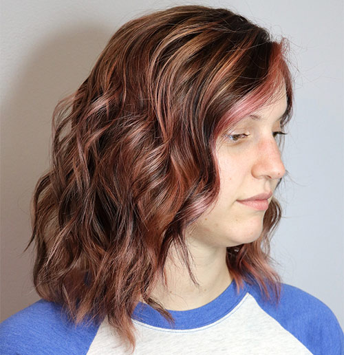 Vibrant Rose Brown Partial Highlights