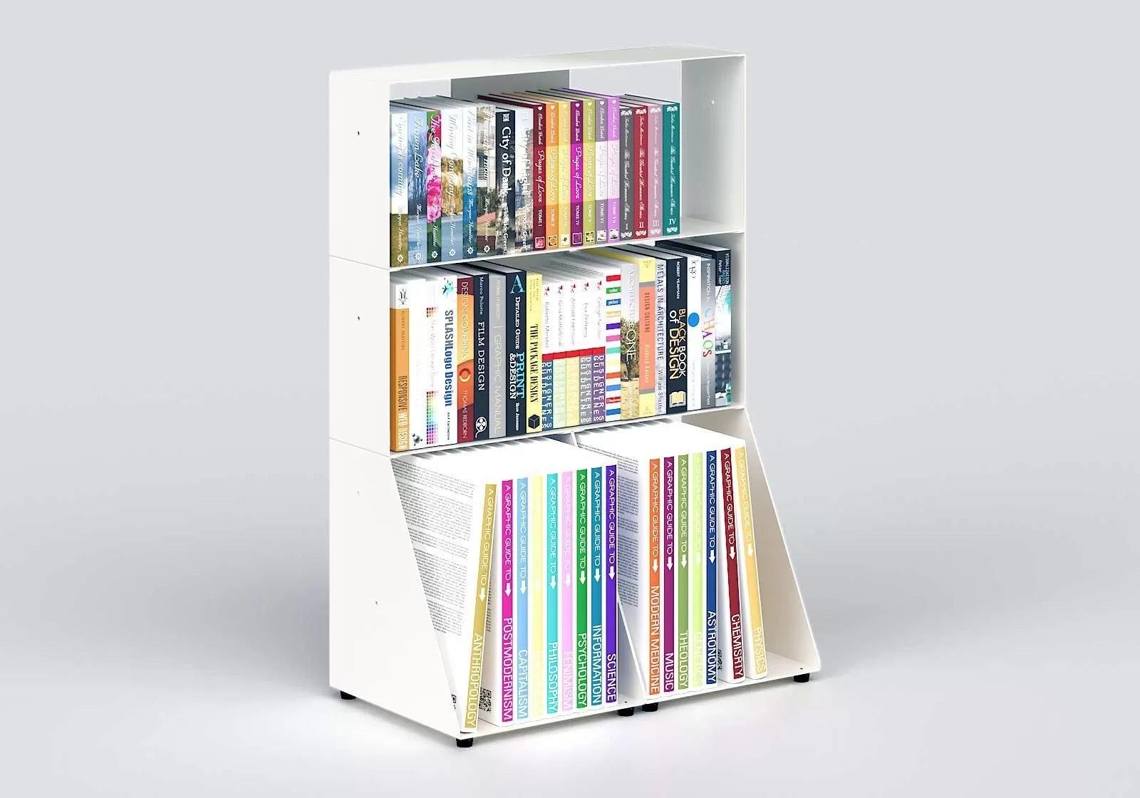 bibliotheque basse 60 cm metal blanc 3 niveaux