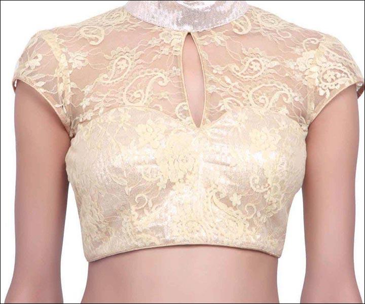 blouse front neck designs - Kimono-Styled-Blouse-Front-Neck-Blouse-Front -Neck-Designs