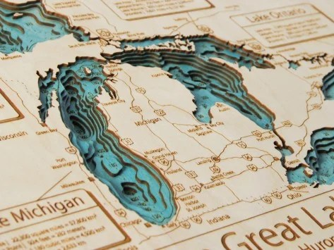 Laser cut wooden maps make great gifts for travelers.