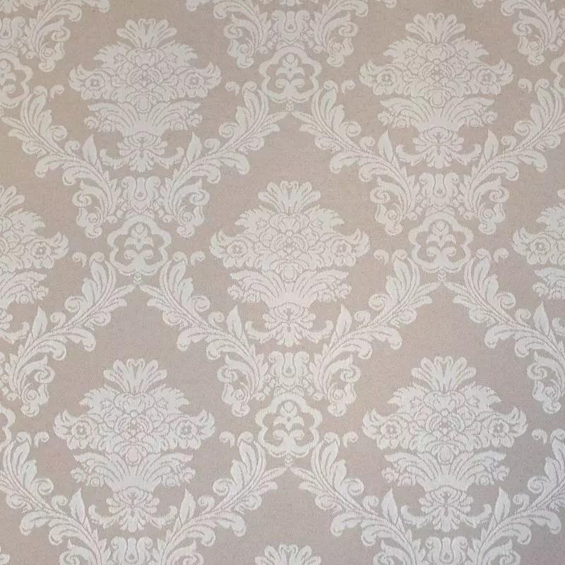 tissu jacquard enduit beige motif fleurs baroques ecrues