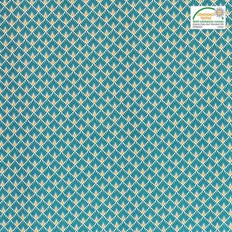 coton imprime ecailles bleu canard et or