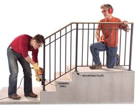 Safety First Install An Outdoor Stair Railing — The Family Handyman | Pre Made Stair Railings | Aluminum Railing | Wrought Iron Railing | Deck Railing | Cable Railing Systems | Metal