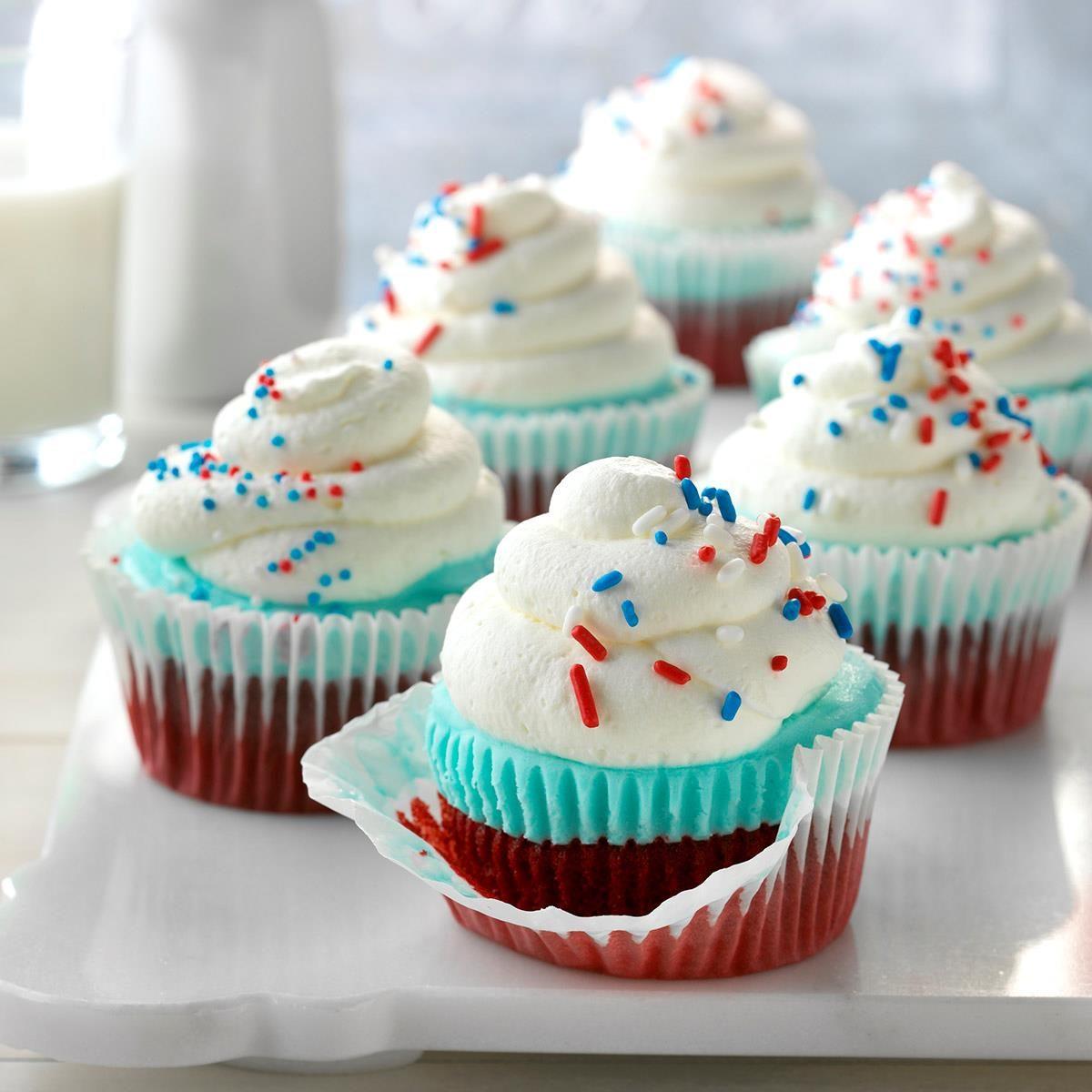 Patriotic Ice Cream Cupcakes Recipe Taste Of Home