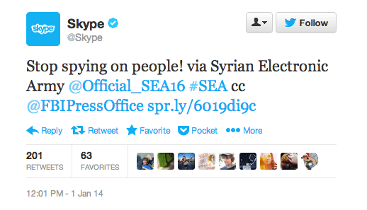 Screen Shot 2014 01 01 at 12.31.00 PM Skypes Twitter, Facebook, and blog hacked by Syrian Electronic Army demanding an end to spying