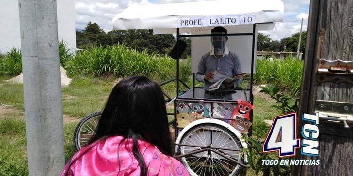 104325412 960491231064131 980442631399412397 o - Maestro adapta un triciclo para salir y enseñar a los alumnos en su casa. Fabricó un «aula móvil»