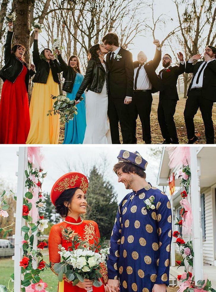 1 15 - 30 novias que no usaron el típico vestido blanco en su boda. Una se vistió de dinosaurio