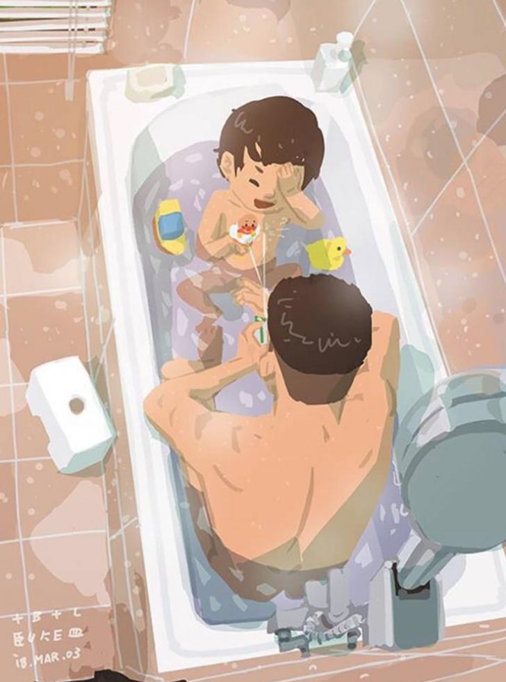 1 96 - 20 ilustraciones que muestran cómo es la vida de un papá soltero. Si mamá puede, papá también