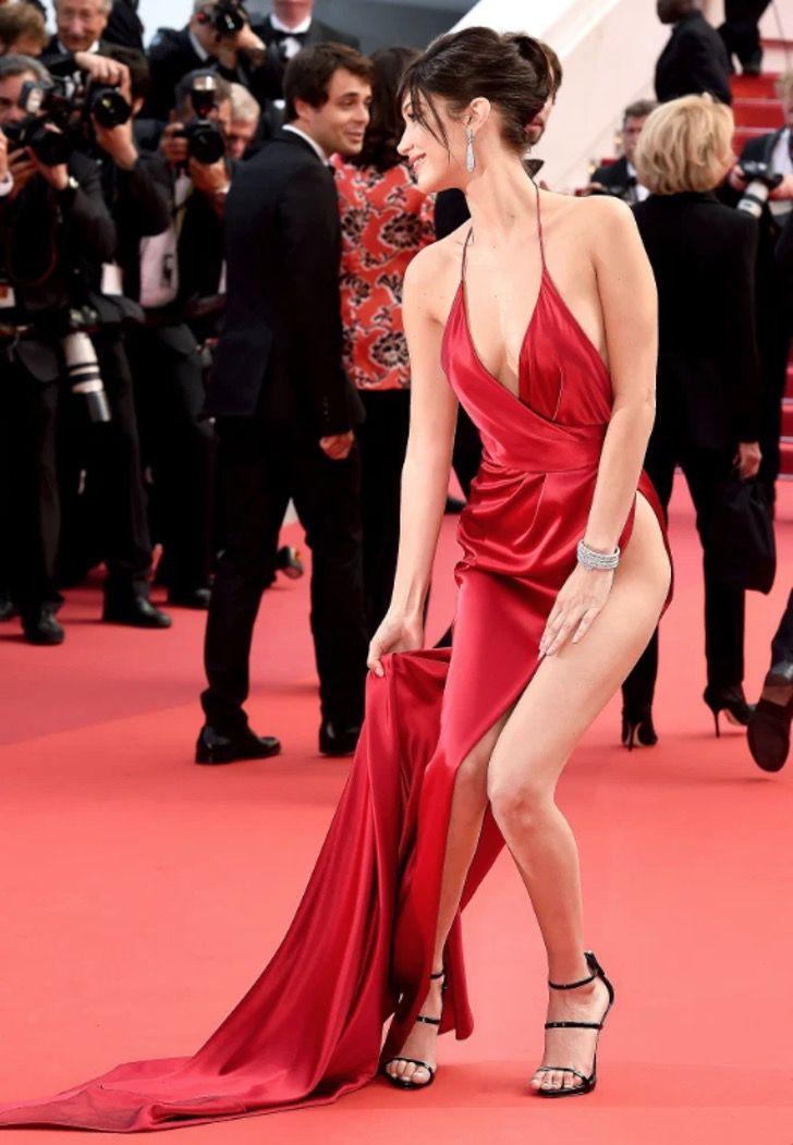 bella hadid cannes1 - Bella Hadid confesó que está avergonzada del sensual vestido que usó en Cannes 2016