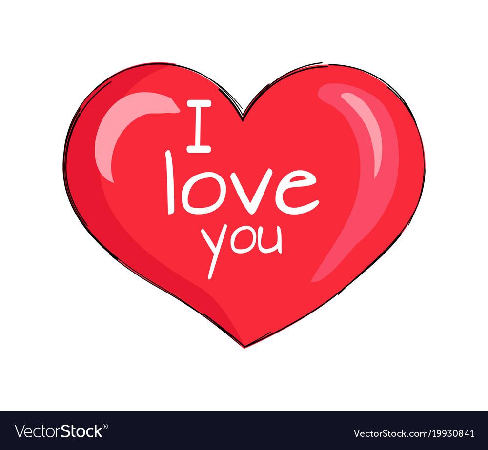 Download I love you inscription on red heart shape symbol Vector Image