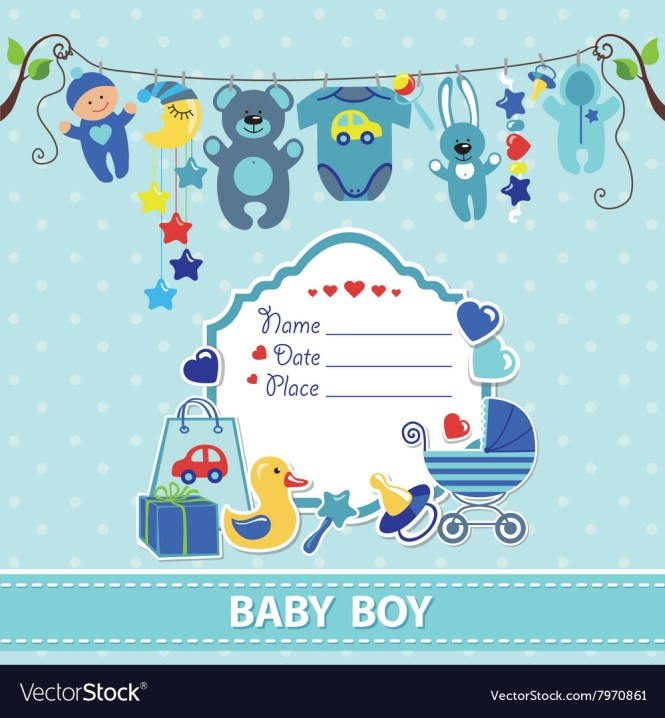 New Born Baby Boy Card Shower Invitation Template