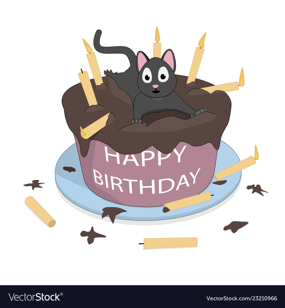 A Cat On Cake Wishes A Happy Birthday Royalty Free Vector