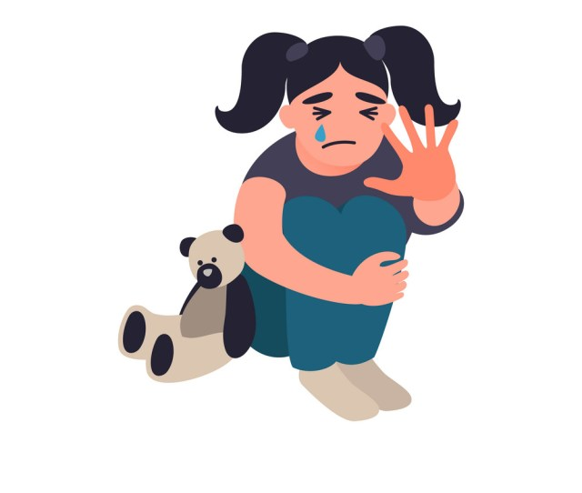 Stop Violence And Abused Children Vector Image