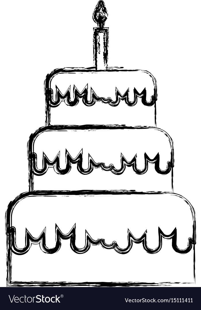 Sketch Draw Birthday Cake Cartoon Royalty Free Vector Image