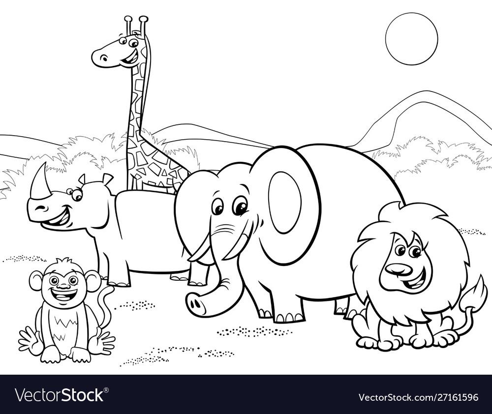 Cartoon Safari Animals Group Coloring Page Vector Image