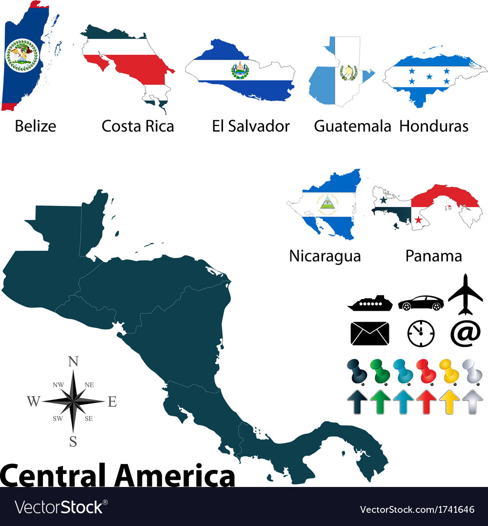 Maps With Flags Of Central America Royalty Free Vector Image