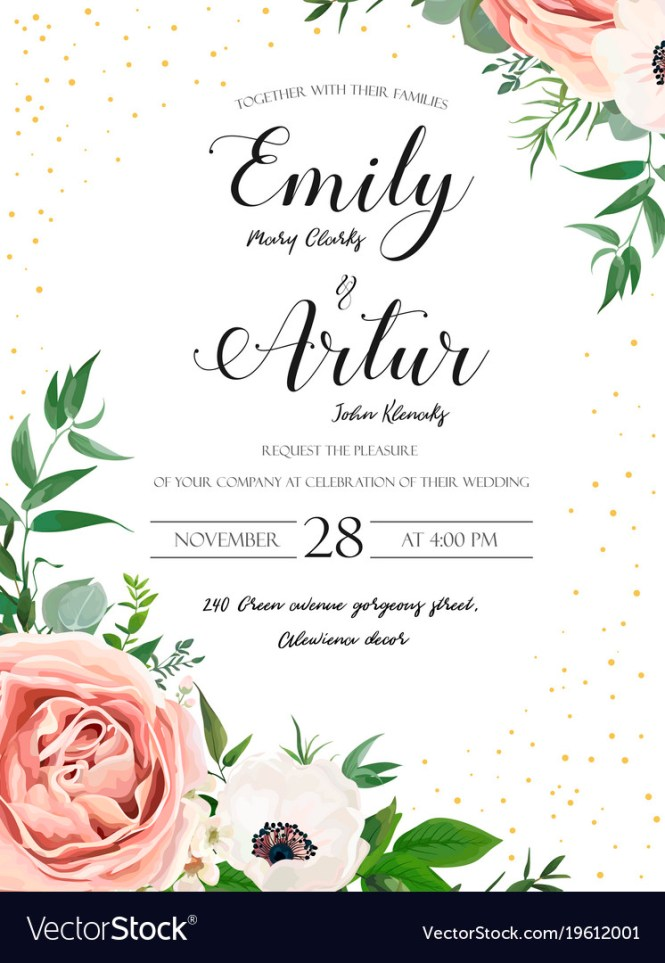 Wedding Fl Invite Card Design With Rose Flower Vector Image
