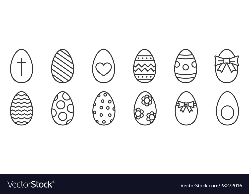 Outline Easter Eggs Happy Easter Icons Royalty Free Vector