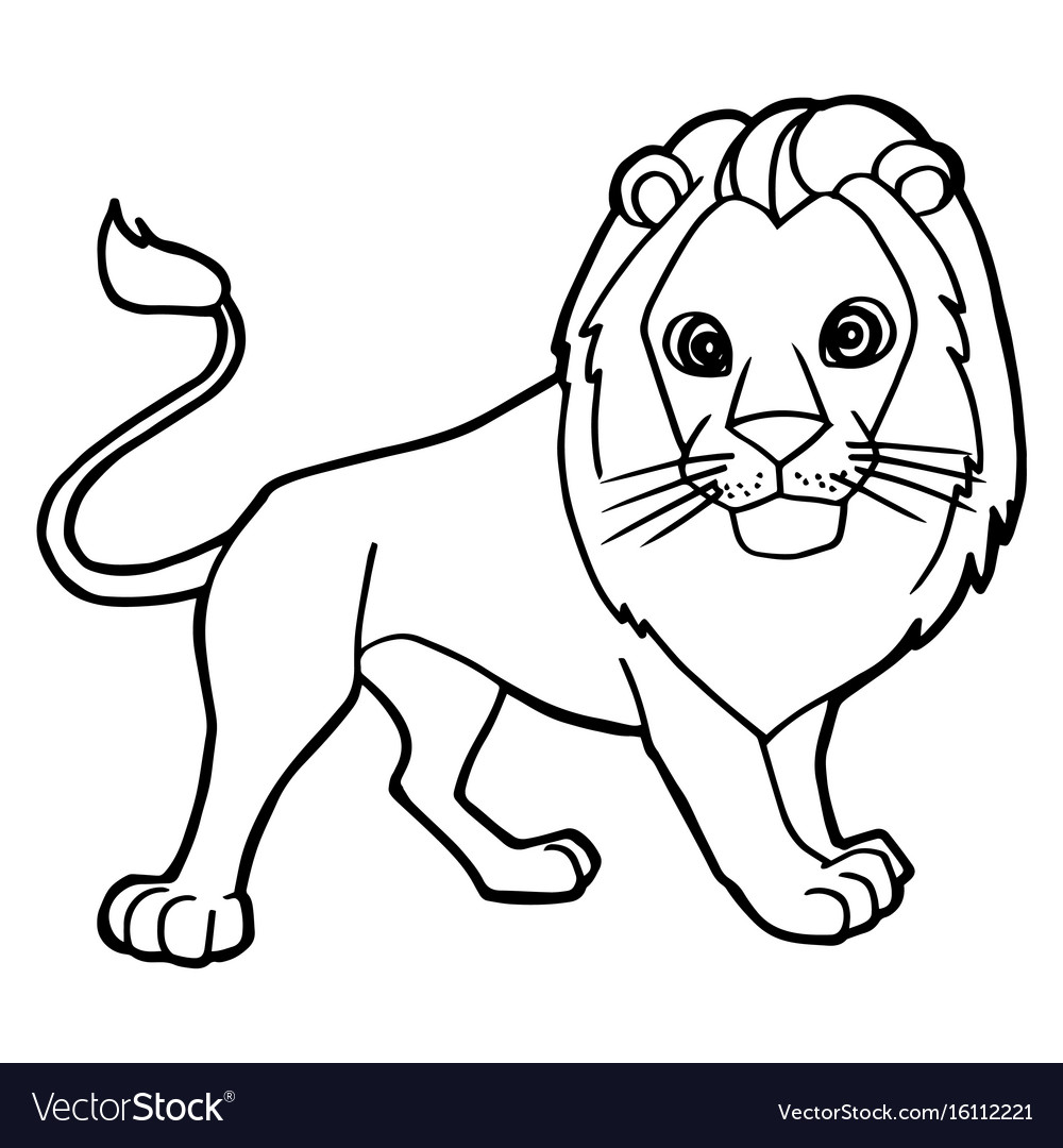 Cartoon Cute Lion Coloring Page Royalty Free Vector Image