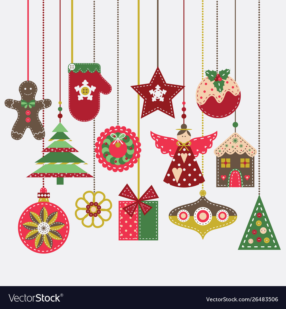 Merry Christmas Card With Vintage Felt Decoration