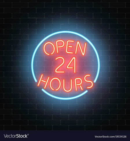 Neon open 24 hours sign on a brick wall Royalty Free Vector