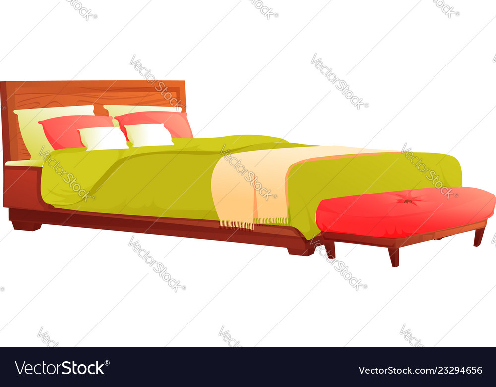 wood bed with green blanket and red pillow vector image