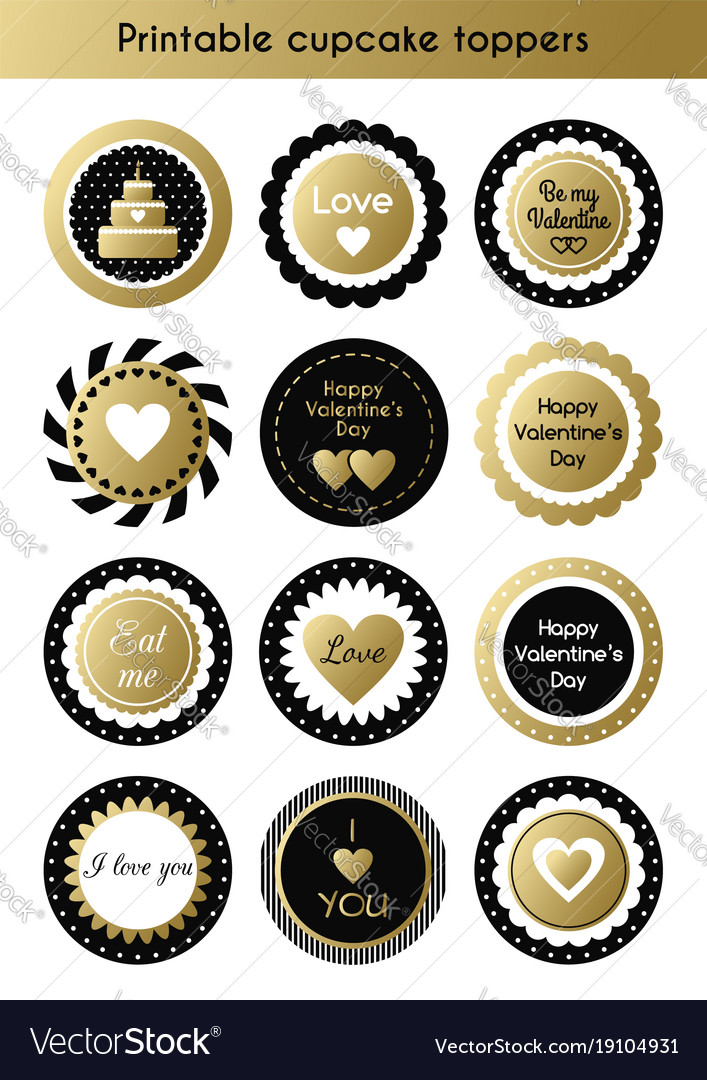 Set Printable Gold And Black Cupcake Toppers Vector Image