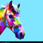 Colorful Horse Head In Geometric Pattern Pop Art Vector Image