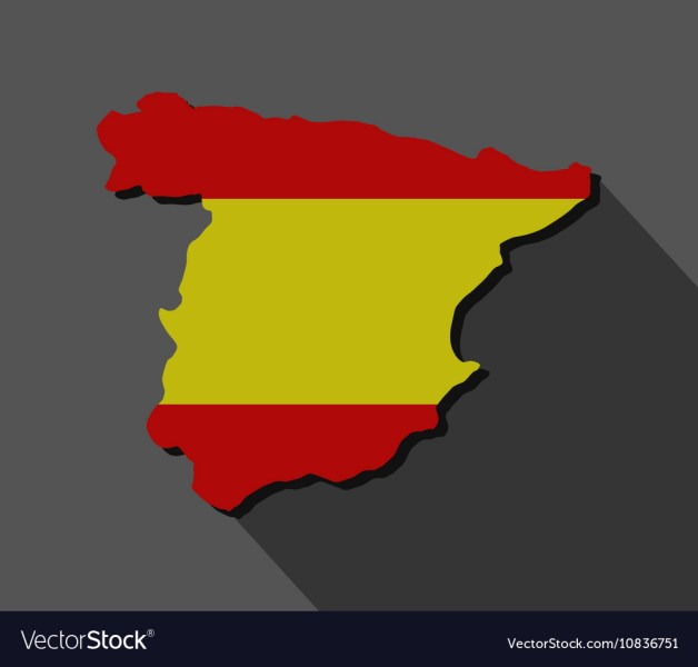 Map of spain with flag vector image on VectorStock Map of spain with flag vector image