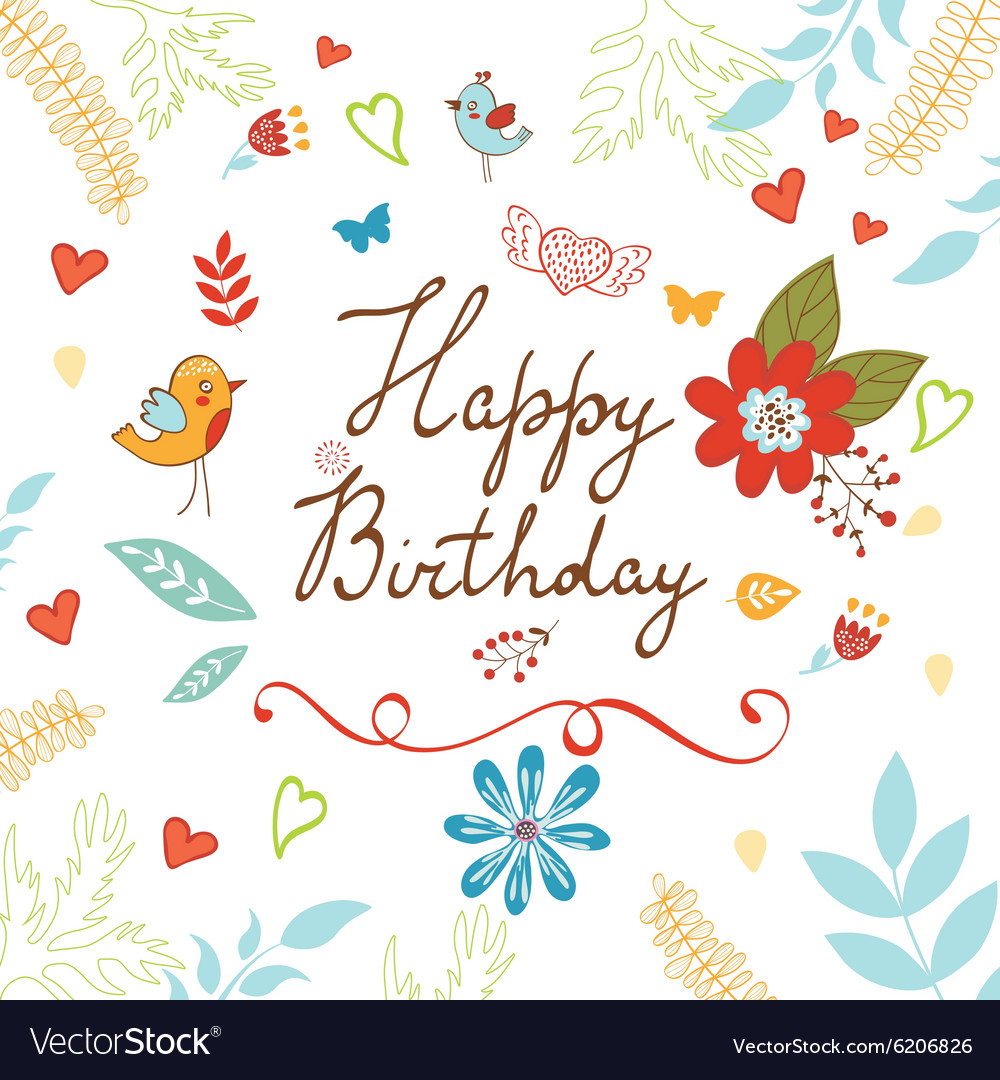 Happy Birthday Card With Flowers Royalty Free Vector Image