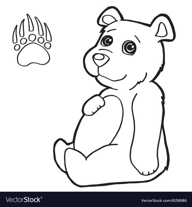 Bear with paw print coloring pages Royalty Free Vector Image