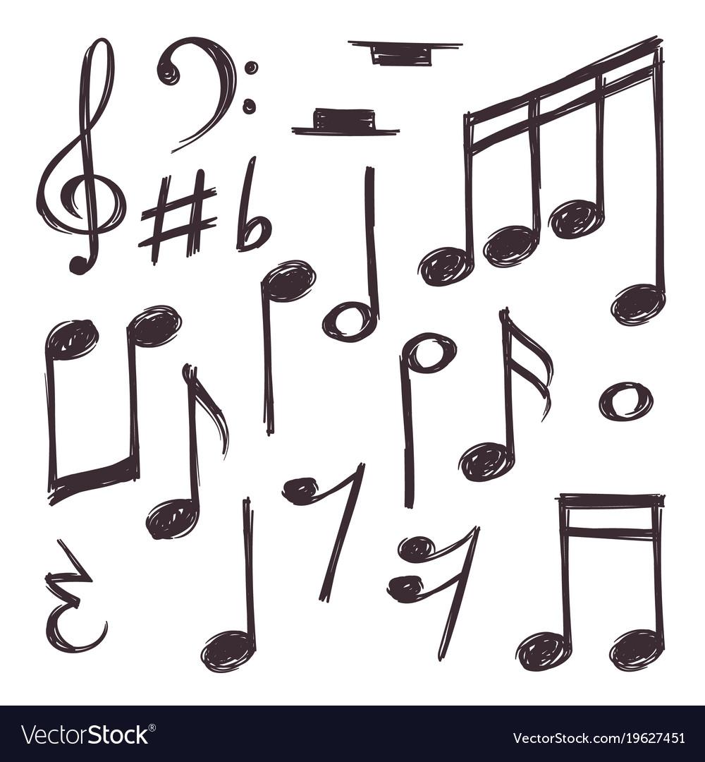 Hand Drawn Music Note Musical Symbols Royalty Free Vector