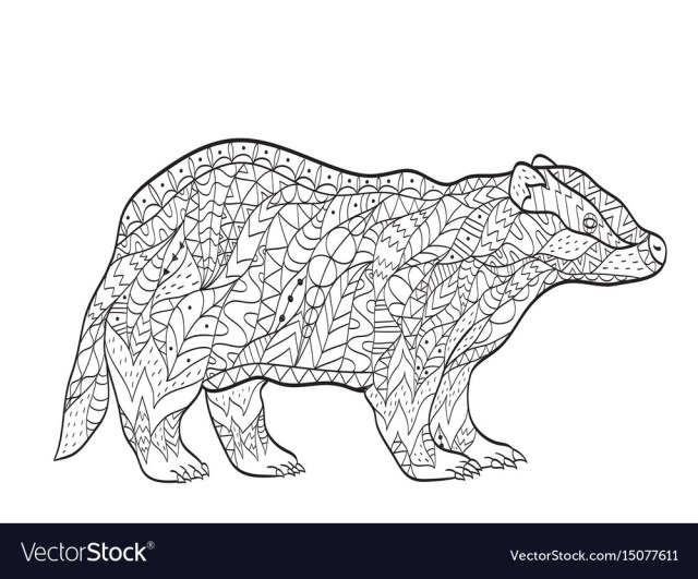 Coloring european badger for adults Royalty Free Vector
