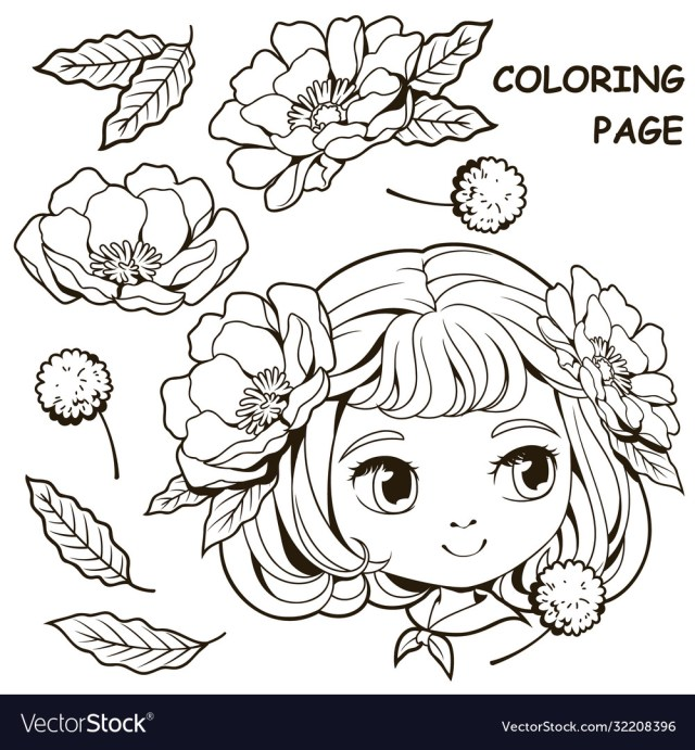 Cute girl and flower coloring pages 29 Royalty Free Vector