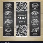 Chalk Drawing Restaurant Menu Design Royalty Free Vector