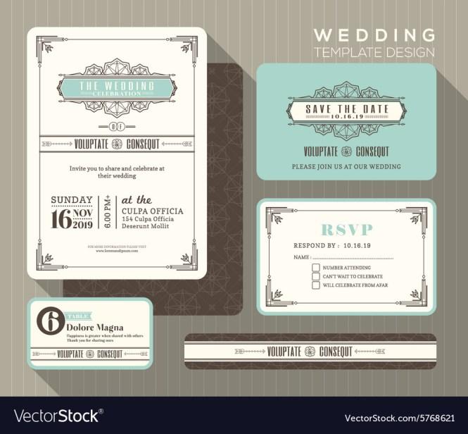 Vintage Art Deco Wedding Invitation Set Template