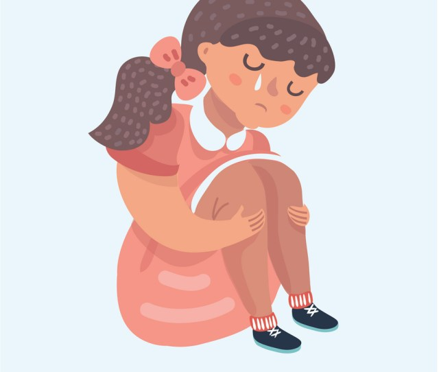 Sad Girl Cartoon Sitting Alone Royalty Free Vector Image