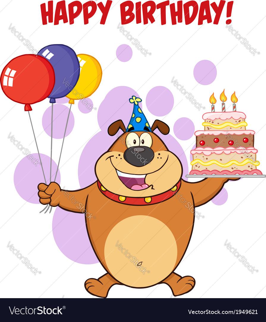 Happy Birthday Dog Cartoon Royalty Free Vector Image