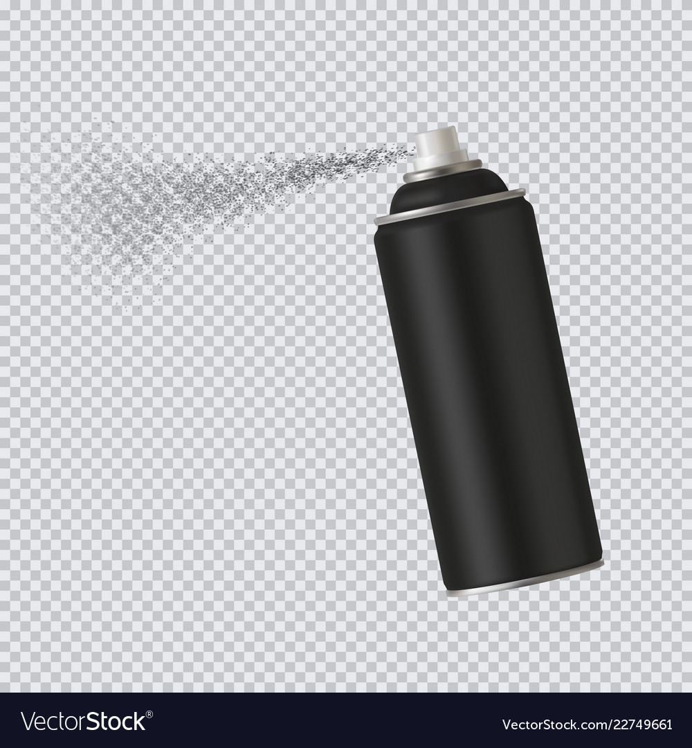 Black spray cans spray paint on transparent Vector Image