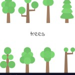 Set Simple Trees Flat Trees Isolated On White Vector Image