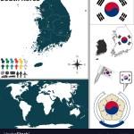 South Korea Map World Royalty Free Vector Image