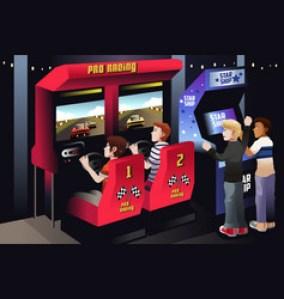 boys playing car racing in an arcade